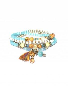Armband The elastic 4 layer bracelet turquoise