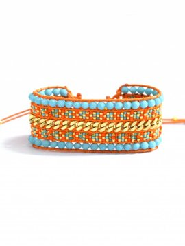 The bracelet Miyuki double turq / orange