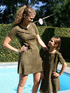 Jacky Luxury Dress suede army kids: ONLY 2 LEFT
