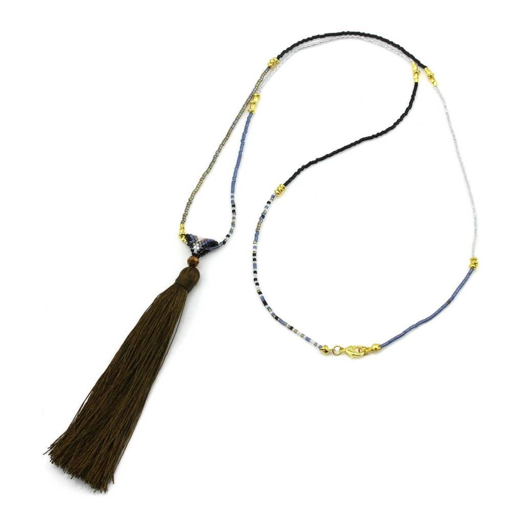 Nilu Chain tassel khaki