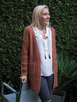 Cardigan knit tricot  copper