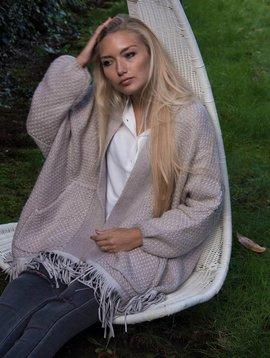 Charlise Cardigan/veste laine gris/ praline Charlise