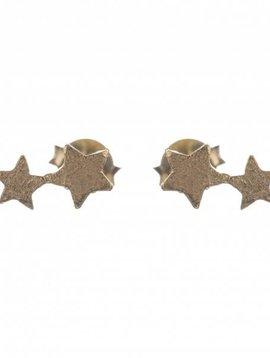 Betty Bogaers oorbel 2 connected star verguld goud