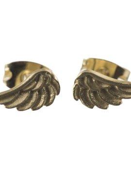 Betty Bogaers Oorbel wings stud (kleine vleugels) verguld goud