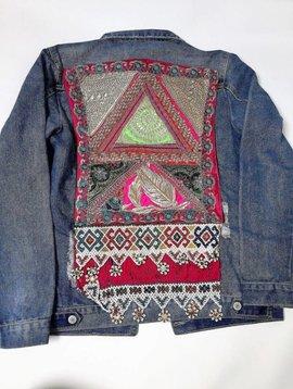 Jeansvest vintage Ananda borduurwerk  multicolor Medium