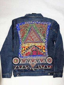 Monikmo Jeansvest Ananda borduurwerk  multicolor blue Large