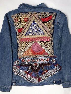 Monikmo Veste en jeans vintage Ananda broderie multicouleur noir-doré XL