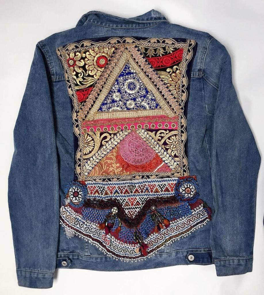 veste en jeans vintage ananda broderie multicolor xl. Black Bedroom Furniture Sets. Home Design Ideas
