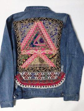 Monikmo Veste en jeans vintage Ananda broderie multicouleur noir-rose XL