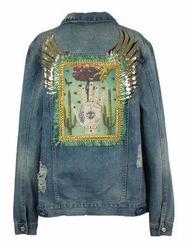 Monikmo Jeansvest vintage vleugels hand Arty Jean-S