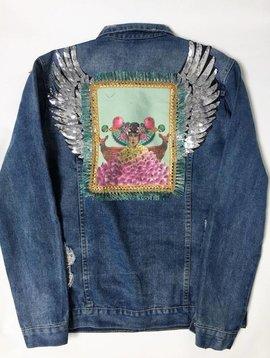 Monikmo Jeansvest vintage vleugels gezicht Arty Jean -XL