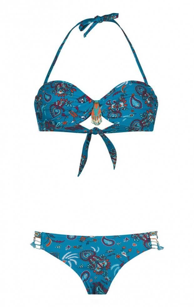 Amenapih Nomadswim blue strapless two-piece swimsuit