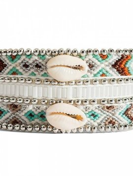 Hipanema Mona-twin women's bracelet shell silver