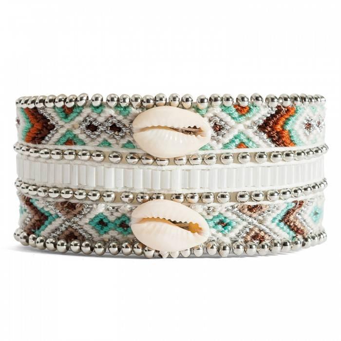 Hipanema Mona-twin women's bracelet shell silver