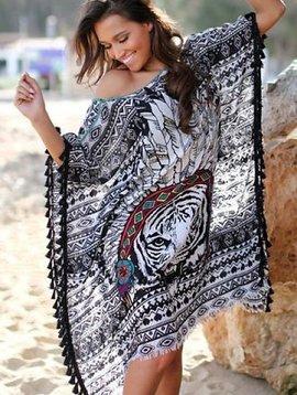 Tunique noir plume lion