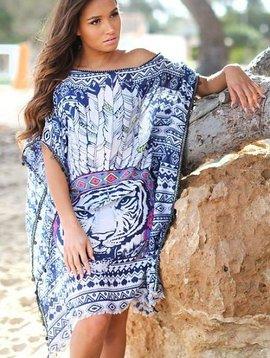 Tunique bleu plume lion