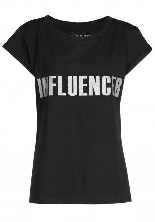 T-shirt– INFLUENCER black print silver glitter