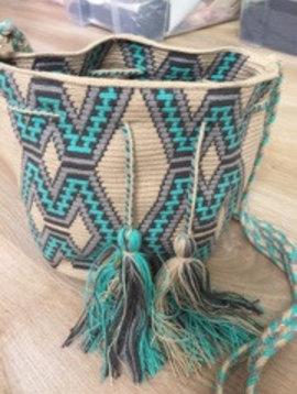 Guanabana Bag Wayuu turquoise/grey medium size