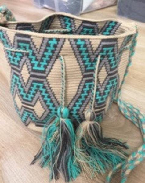 Bag Wayuuturquoise/grey medium size