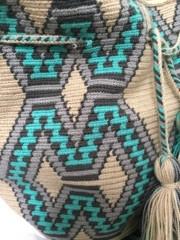 Guanabana Bag Wayuuturquoise/grey medium size - Copy
