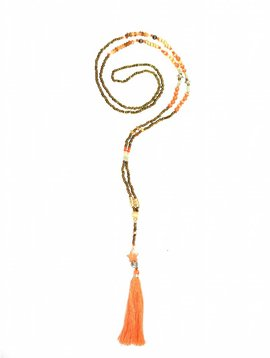 Nilu Halsketting The tiny long necklace oranje