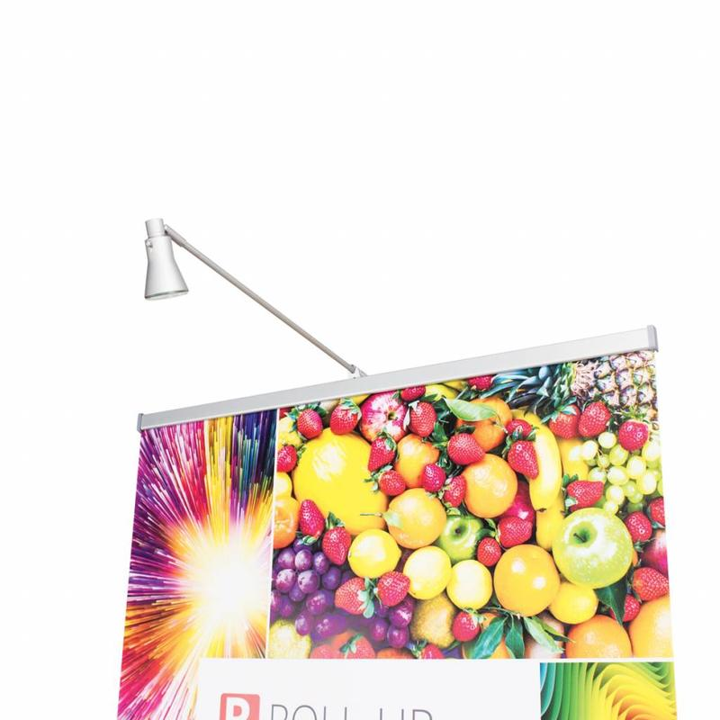 Roll up LED spotlight silver