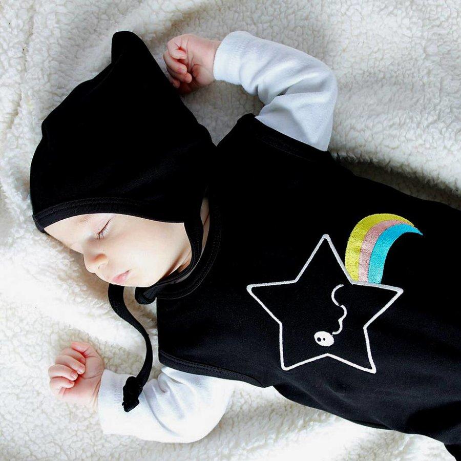Zwarte Kawaii Star Mouwloze Bodysuit-3