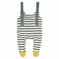 Organic Zoo Pyjama Salopette Streepjes met gele voetjes
