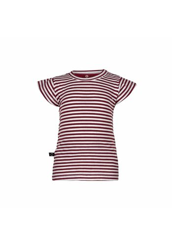 T-shirt Frill Strepen Rood