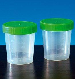 Medische Vakhandel Urinebekers 125 ml met groene schroefdeksel 35 stuks