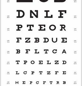 Medische Vakhandel Visuskaart Snellen letters, 5-6 mtr