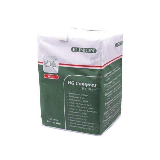 Klinion Klinion Compress HG Mullkompressen, 10 x 10 cm,  8-lagig, 100 Stück, 111098