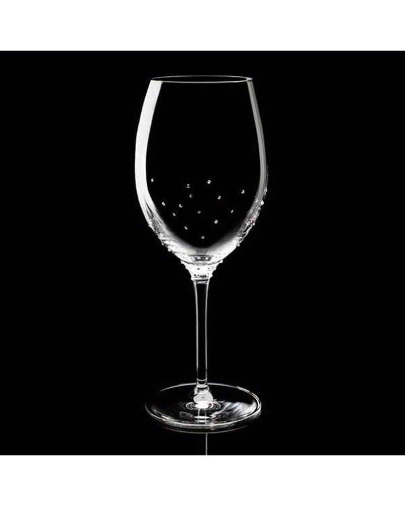 Luxor Crystal  KING II: Set of two re wine glasses embellished with 75 crystals each from Swarovski®.