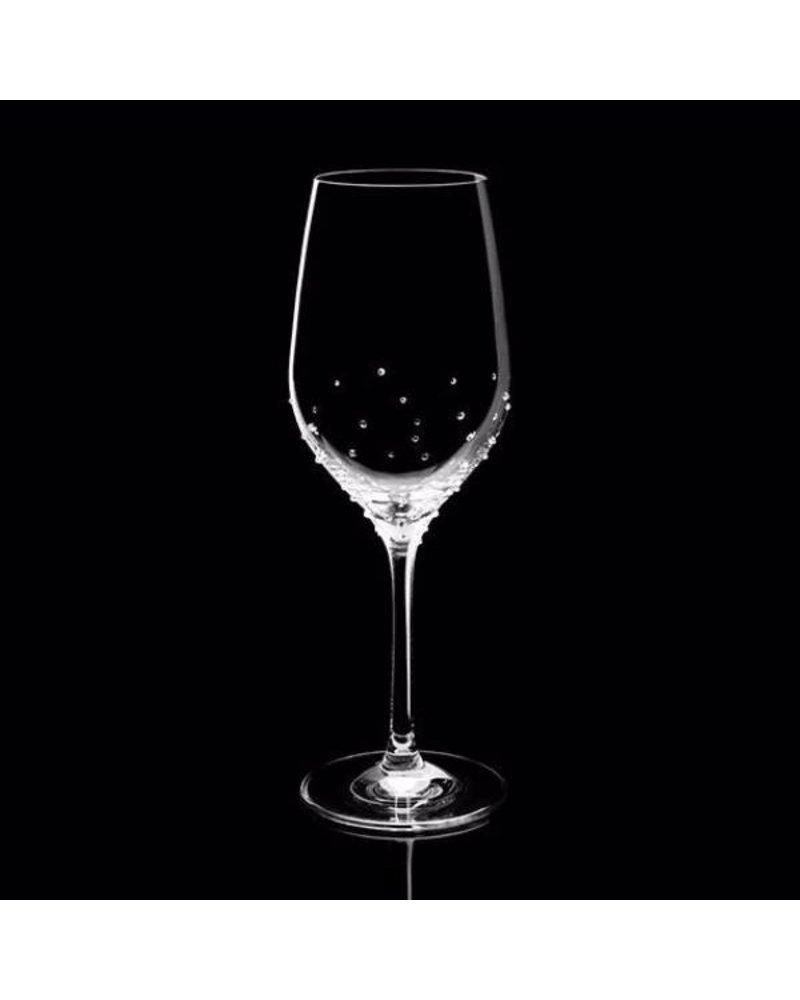 Luxor Crystal  CABERNET BLANC: Weißweinglas 2er-Set veredelt mit 150 Swarovski® Kristallen im Streudesign