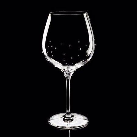Luxor Crystal  BURGUNDY: Rotweinglas 2er-Set veredelt mit je 75 Kristallen im Streudesign