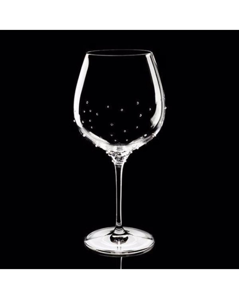Luxor Crystal  BURGUNDY: Set of 2 red wine glasses embellished with 75 crystals each.