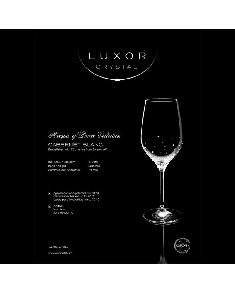 Luxor Crystal  PRINCE: Set of two white wine glasses embellished with 75 crystals each from Swarovski®.