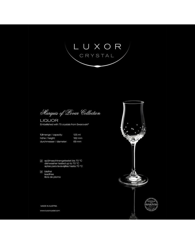Luxor Crystal  LIQUOR:  Set of two digestive glasses embellished with 75 crystals each from Swarovski®.