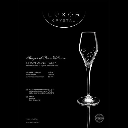 Luxor Crystal  TULIP: Set of two champagne glasses embellished with 75 crystals each