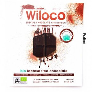 Wiloco Lactosevrije Chocoladereep Puur met Praliné 90g