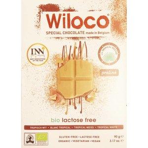 Wiloco Lactosevrije Chocoladereep 'Wit' met Praliné 90g