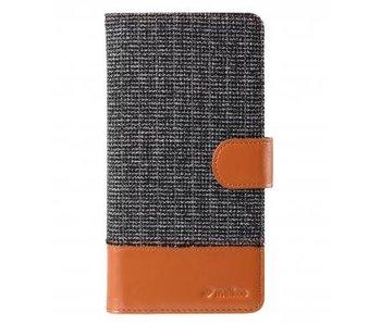 Melkco Wallet Book Case Holmes Find Grid Grijs/Bruin voor Apple iPhone 6 Plus/6S Plus