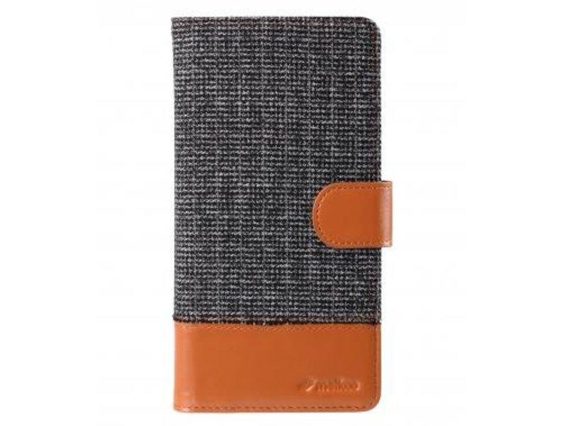 Melkco Melkco Wallet Book Case Holmes Find Grid Grijs/Bruin voor Apple iPhone 6 Plus/6S Plus