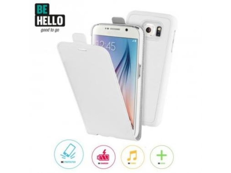 BeHello BeHello 2 in 1 Wallet Flip Case Wit voor Samsung Galaxy S6