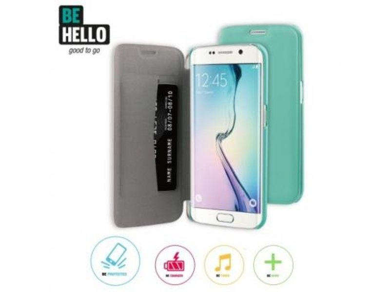 BeHello BeHello Book Case Groen voor Samsung Galaxy S6 Edge