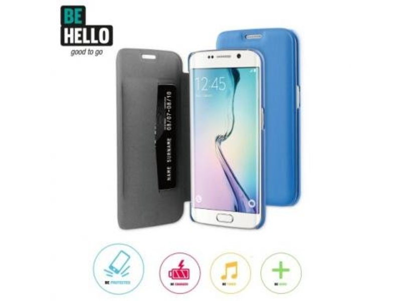 BeHello BeHello Book Case Blauw voor Samsung Galaxy S6 Edge