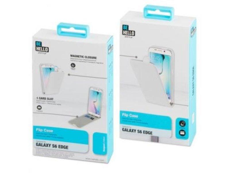 BeHello BeHello Wallet Flip Case Wit voor Samsung Galaxy S6 Edge