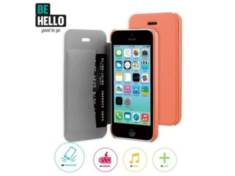 BeHello BeHello Book Case Coral voor Apple iPhone 5C