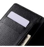 Wallet Book Case Litchi Zwart voor Sony Xperia Z5 Premium