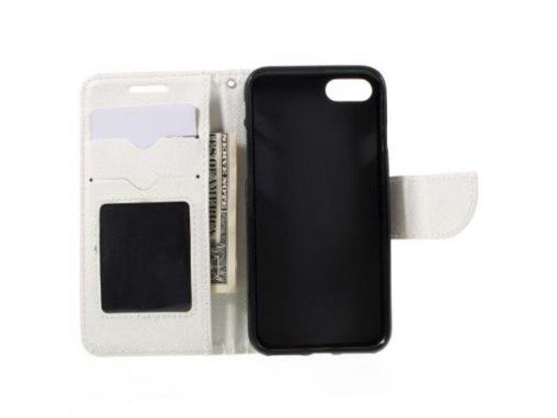 Mobiware Wallet Book Case Cross Texture Wit voor Apple iPhone 7/8